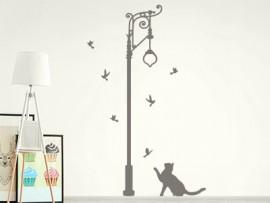 autocolante vinil lampada rua gato vintage