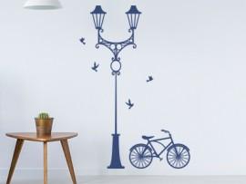 autocolante vinil lampada da rua bicicleta vintage