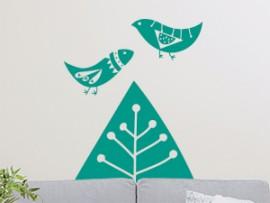 Autocolante Árvore e Pássaros Abstrato