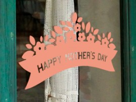 autocolante vinil happy mother's day floral festa da mae