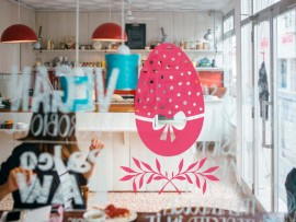 autocolante vinil ovo de pascoa floral