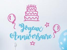 autocolante vinil festa de aniversario personalizado bolo