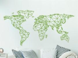 autocolante vinil mapa do mundo geometrico origami
