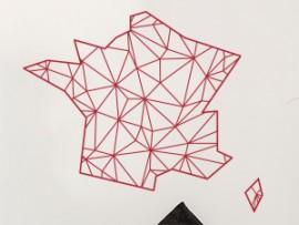 Autocolante Mapa de França Geométrico