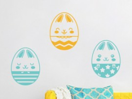 autocolante vinil pack ovos coelhos pascoa