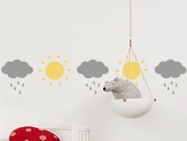 autocolante vinil faixa nuvens e sol infantil friso