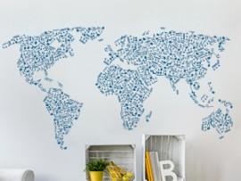 Autocolante Mapa de Mundo Musica