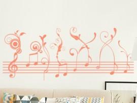 Autocolante Pauta Musica Floral