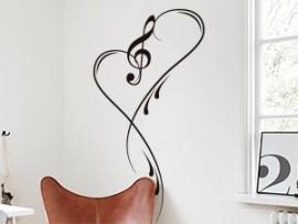 Autocolante Musica Clave de Sol Love