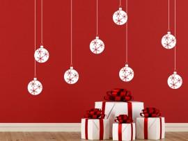 Autocolante Pack 8 Bolas Flocos de Natal