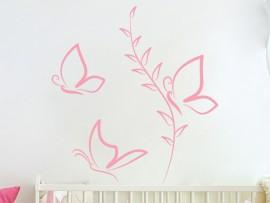 Autcolante Borboletas Flor