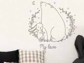 Autocolante O Amor Urso e Coelho