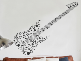 Autocolante Guitara Notas de música