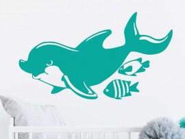 Autocolante Golfinho & Peixes