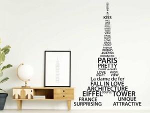 Autocolante Torre Eiffel Text Paris