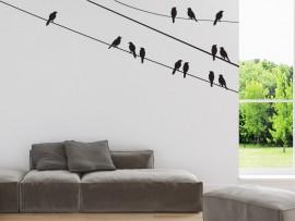 Autocolante Pássaros sobre o fio