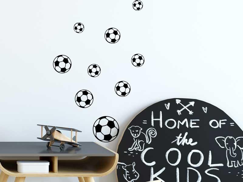 Autocolante Kit 9 Bolas de Futebol Preto - Magic Stickers 80d33a5c63579