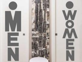 Autocolante WC Women & Man Text