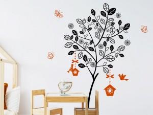 Autocolante Árvore de verão com gaiolas e pássaros