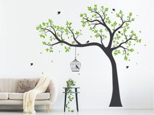 Autocolante Árvore Gaiola Pássaros 2