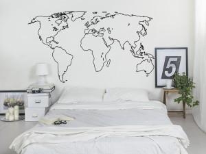 Autocolante Contorno Mapa do mundo