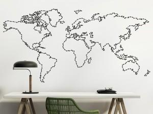 Autocolante Contorno Mapa do mundo 2
