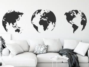Autocolante 3 Globos Mapa do mundo
