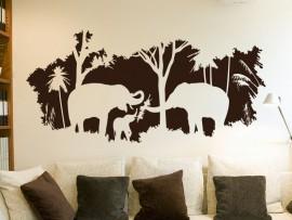 Autocolante Paisagem Africa Elefantes