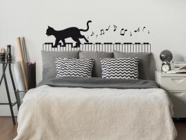 autocolante vinil gato no piano