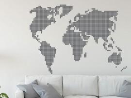 Autocolante Mapa do Mundo Pixel