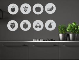 autocolante vinil pack icones legumes frutos cozinha