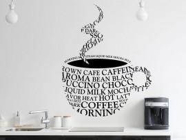 Autocolante Xícara de Café Texto