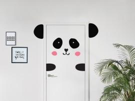 autocolante vinil panda na porta infantil