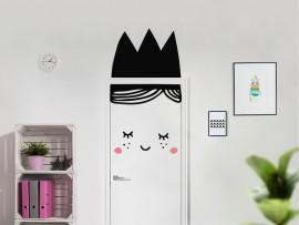 autocolante vinil princesa na porta infantil