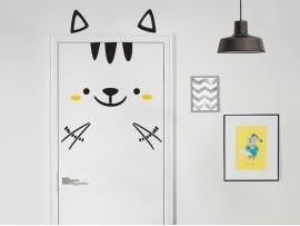 autocolante vinil gato na porta infantil