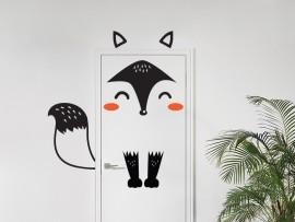 autocolante vinil raposa na porta infantil