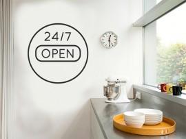 autocolante vinil 24/7 open