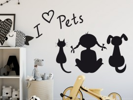 Autocolante I love Pets