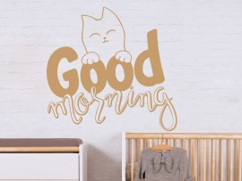 autocolante vinil gato good morning